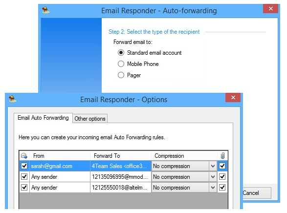 Outlook Email Responder auto forwarding assistant.