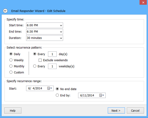 Email Responder auto-reply filters and options.